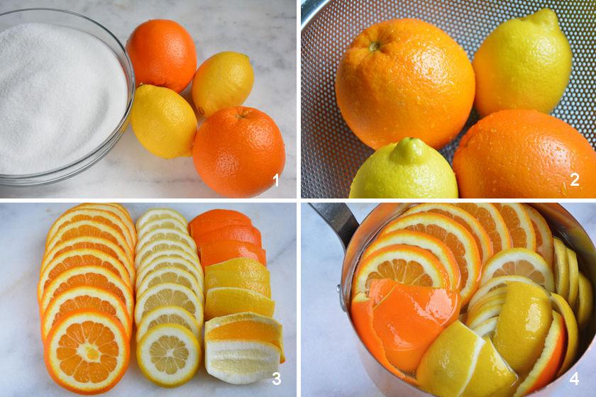 Herstellung kandierte Orangen und Zitronen