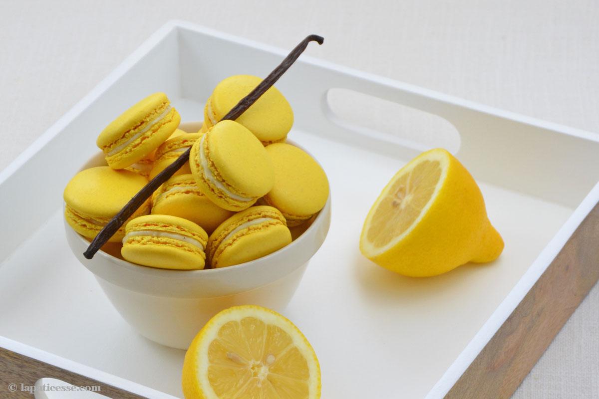 Zitronen Macarons mit Vanille Rezept Macarons au citron vanille Zubereitung