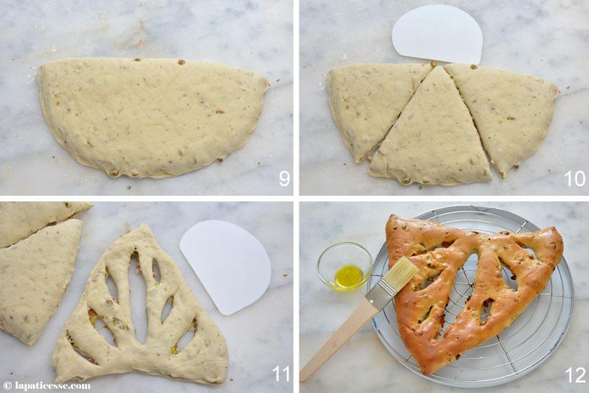 Fougasse à la pistache oder Fougasse mit Pistazien Rezept Zubereitung Fougasse einschneiden