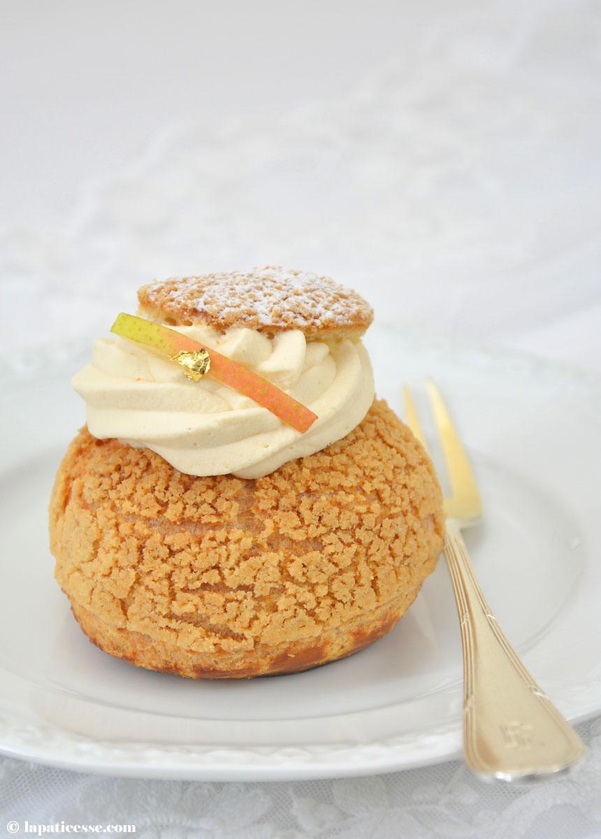 Choux au caramel beurre salé et poire Rezept Windbeutel mit Karamell und Birne
