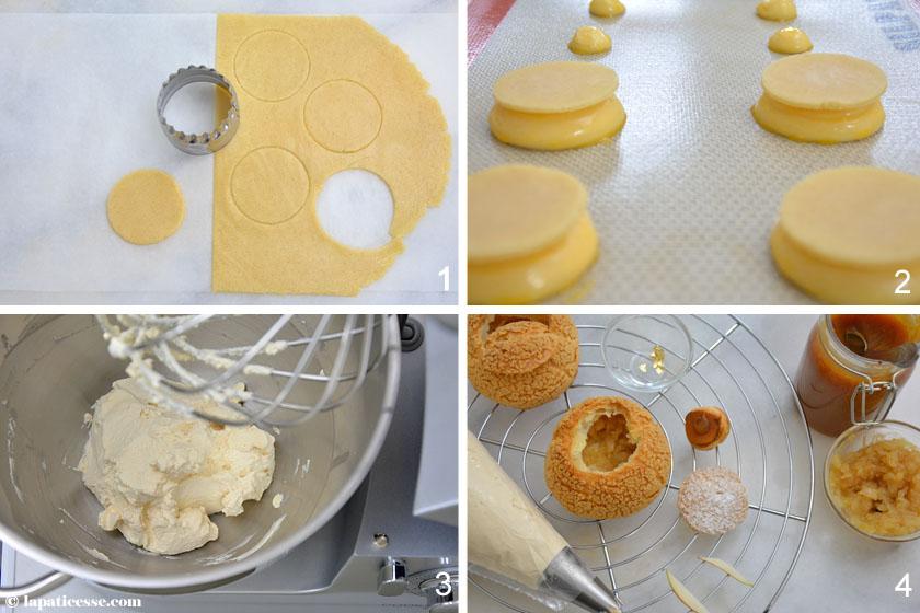 Choux au caramel beurre salé et poire Windbeutel mit Karamell und Birne Rezept Zubereitung