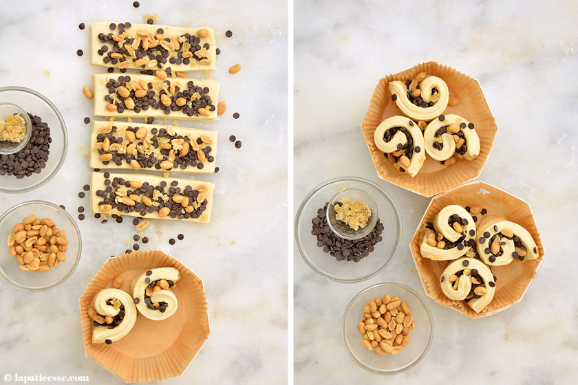 Brioche feuilletée au chocolat mit Erdnüssen, kandiertem Ingwerubereitung