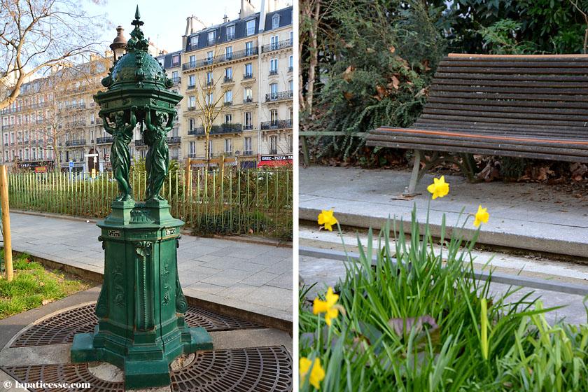 Paris Boulevard Voltaire Wasserspender Narzissen