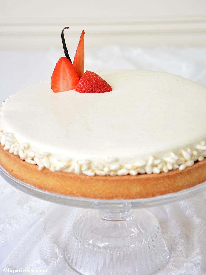 Tarte Sissi Ladurée Rezept Glacage miroir blanc Erdbeer Rhabarber Milchreis Tarte