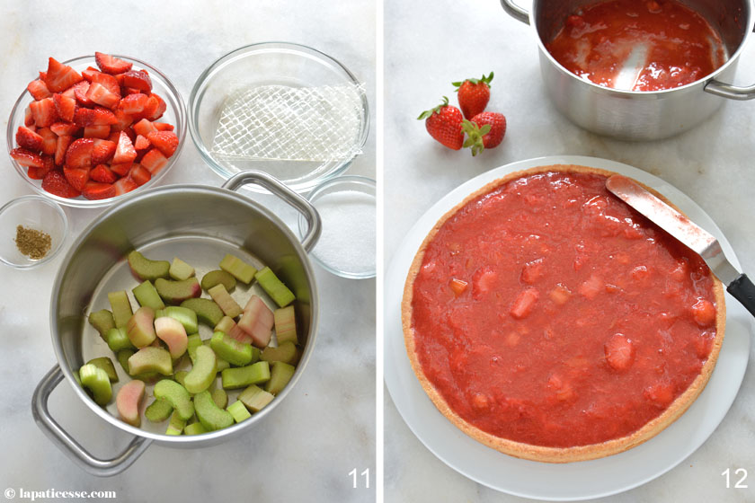 Tarte Sissi Rezept Zubereitung Erdbeer Rhabarber Kompott 6
