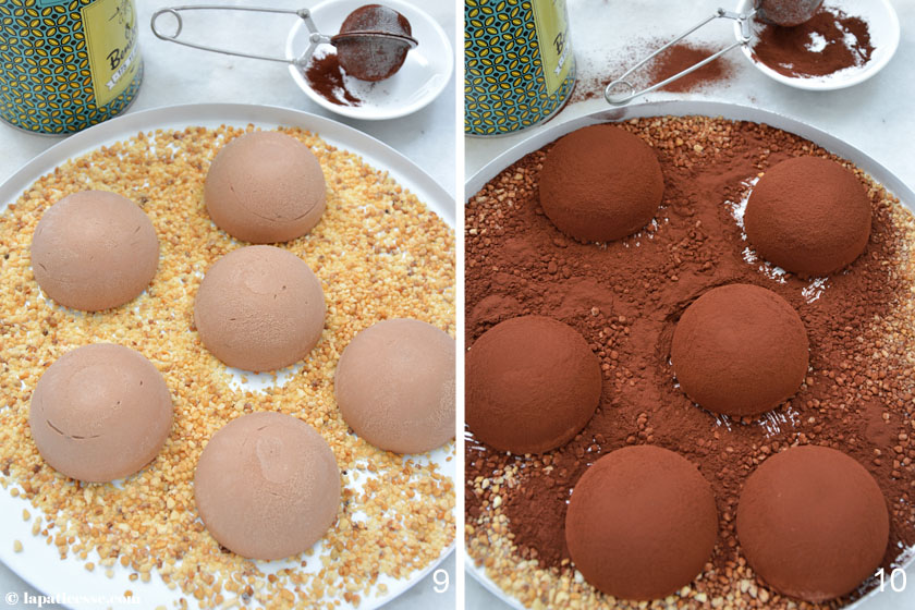 Bombe glacée au chocolat noir Schokoladen Eisbombe Rezept Zubereitung Kakaopulver