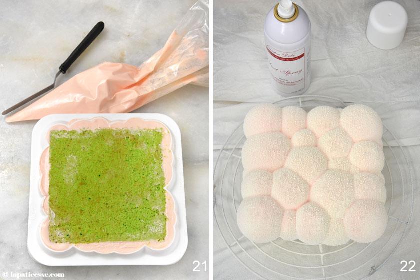 Nuage Ispahan Entremets Cloud Silikomart Rezept Champagner Litchi Himbeer Litschi Rose Zubereitung 21-22