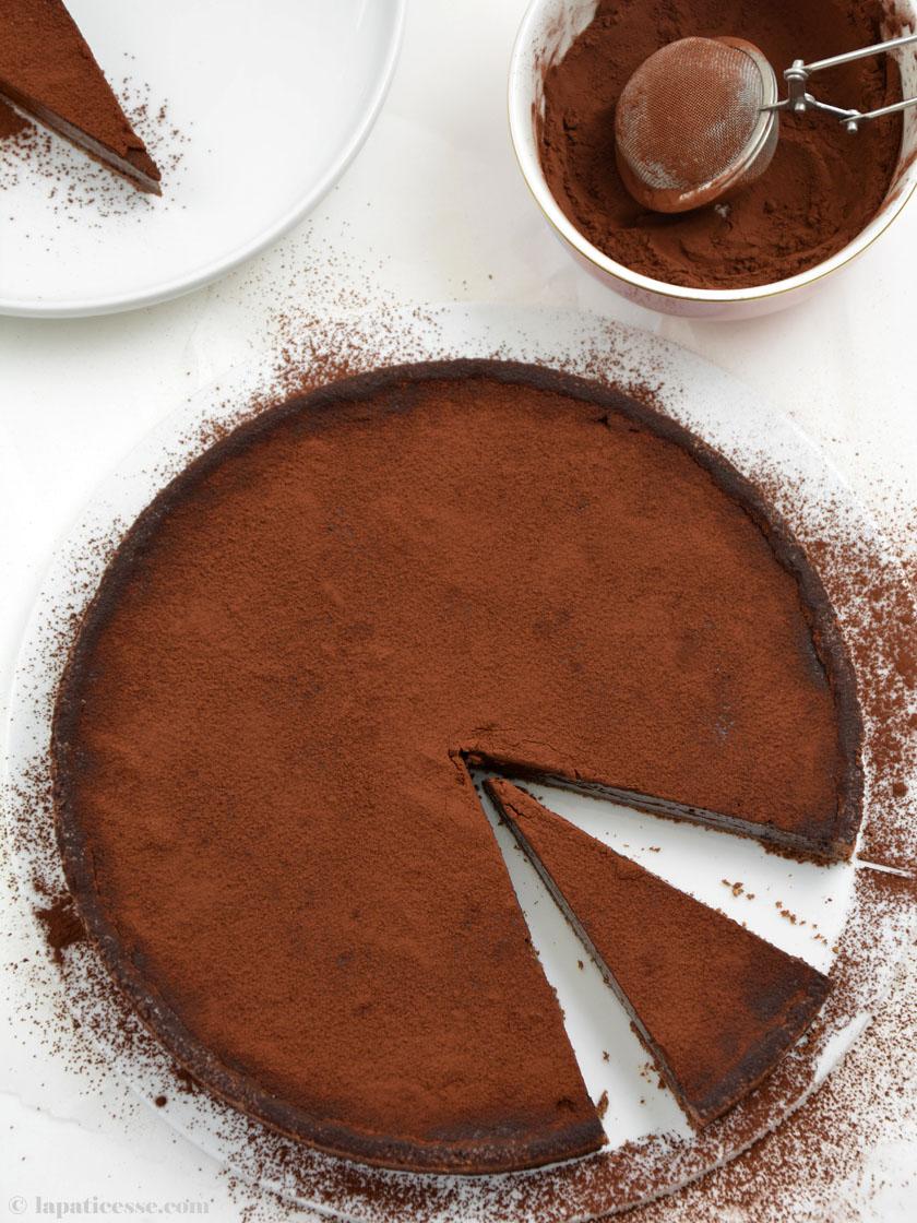 Warme Schokoladentarte Rezept Tarte tiède au chocolat noir chaude
