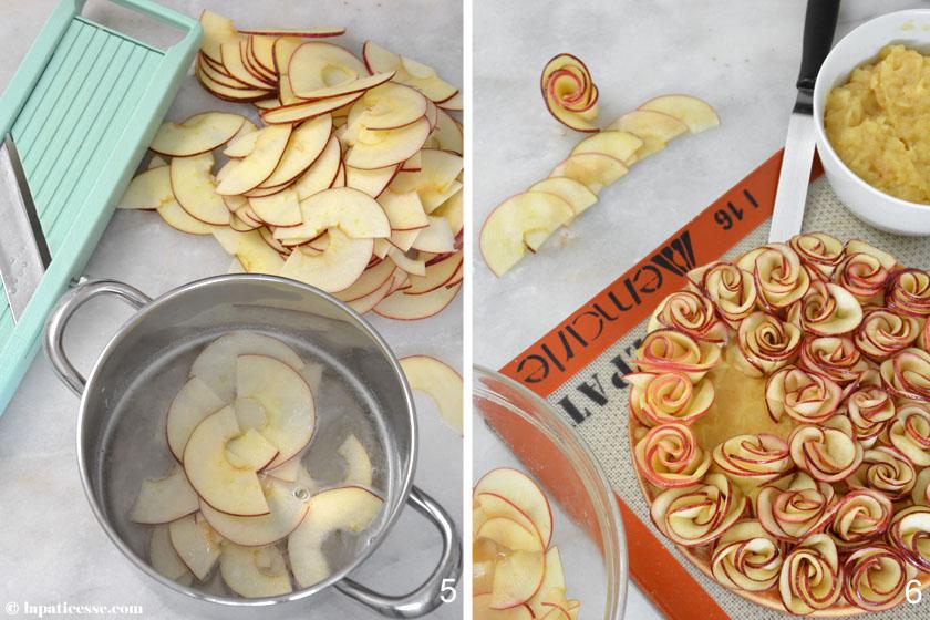 Bouquet de roses Tarte aux pommes Apfelrosen-Tarte Rezept Zubereitung Apfelkompott