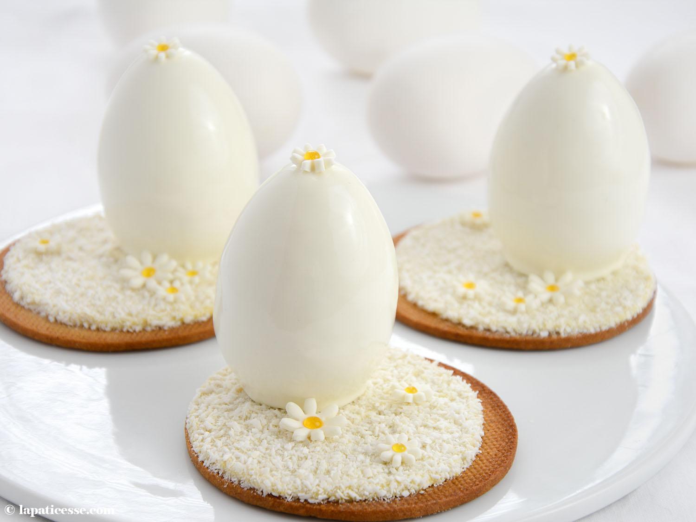 Oeufs blanc de Pâques Weiße Ostereier mit Kokos und exotischen Früchten