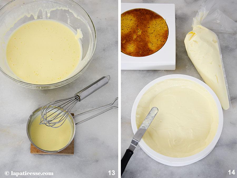 Entremets multivitaminé Multivitamin-Torte Rezept Zubereitung Honig-Frischkäse-Mousse 7