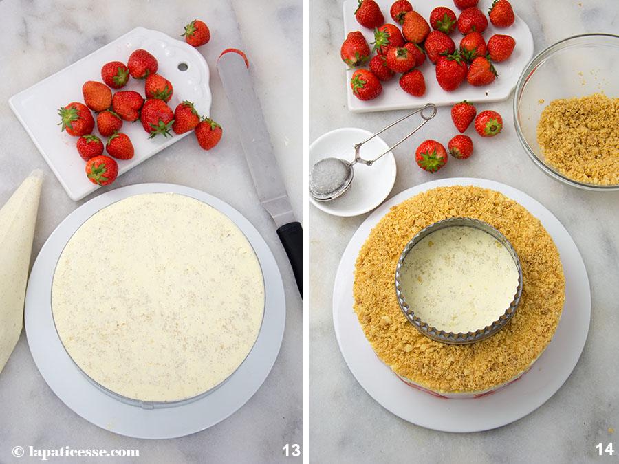 Fraisier Rezept Zubereitung Französische Erdbeertorte Erdbeerkuchen Frankreich 13-14