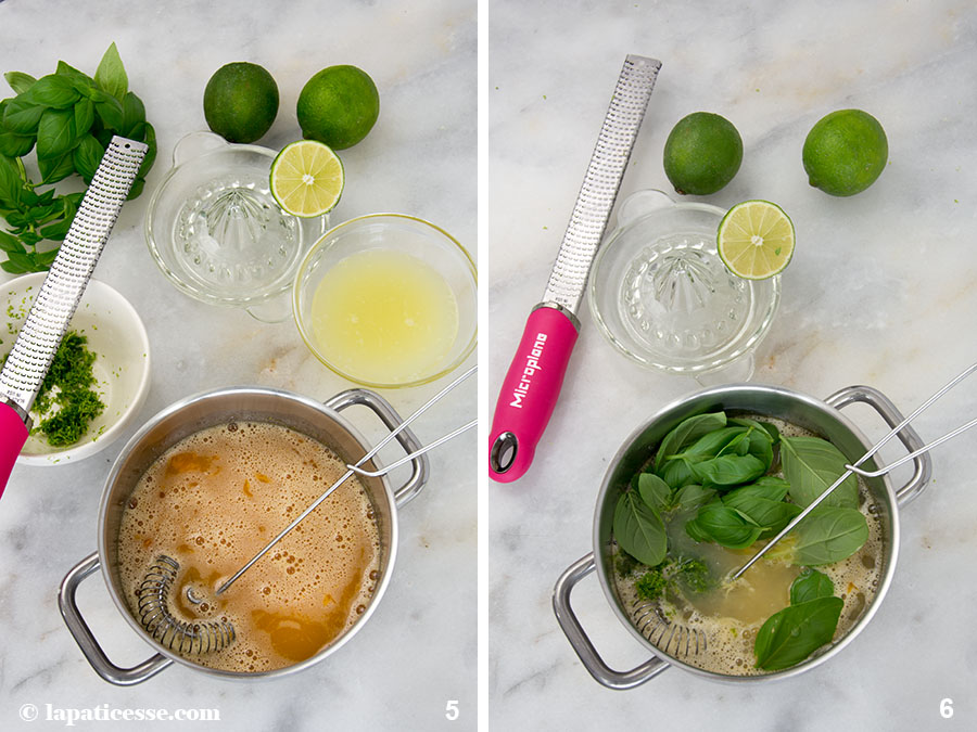 Limettentarte mit Basilikum Tarte au citron vert et basilic Zubereitung 5-6