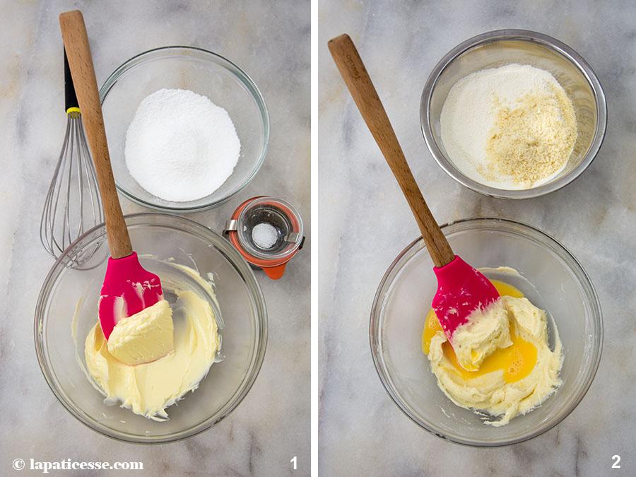 Pâte sucrée Rezept feiner französischer Mürbeteig Mandeln Cremage Hand Zubereitung 1-2