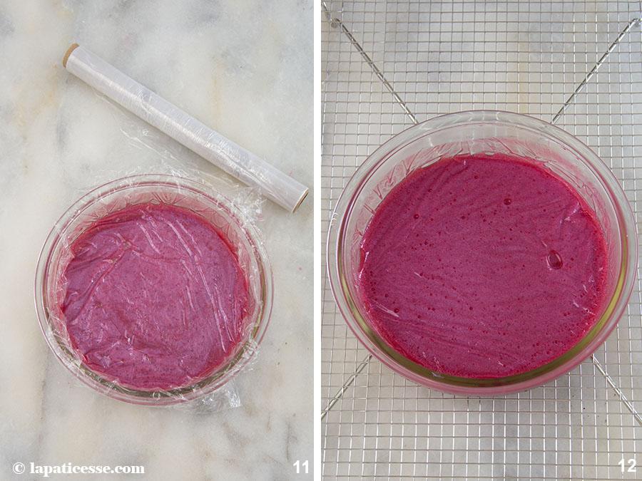 Himbeer-Kokos-Torte Rezept Glitzer-Glasur Mirror Glaze Zubereitung 11-12