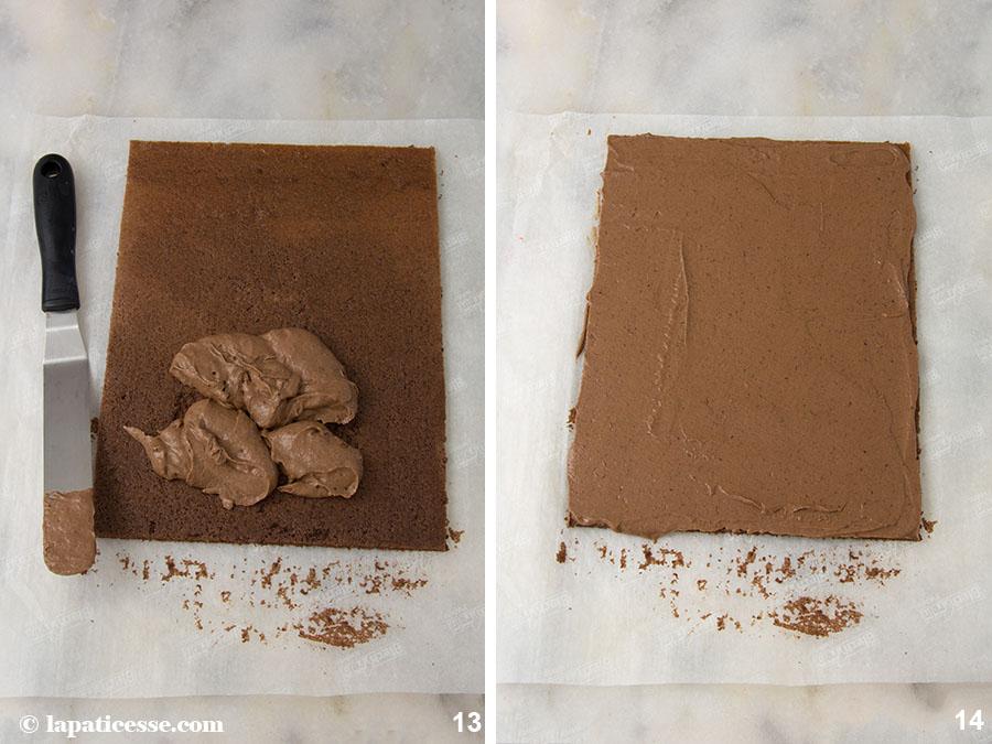 Bûche de Noel Rezept Französischer Weihnachtsbaumstamm Schokolade Pflaume Rum Zubereitung 13-14