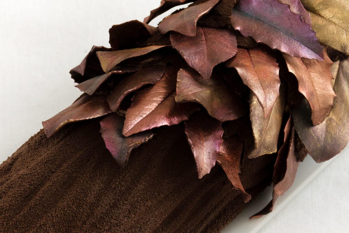 Bûche de Noel Rezept Französischer Weihnachtsbaumstamm Schokolade Pflaume Rum Titel
