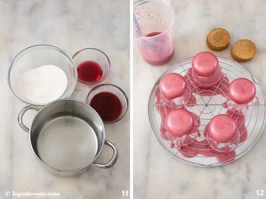Beeren-Törtchen Rezept Petits gâteaux aux fruits rouges Waldrüchte Mirror Glaze Zubereitung 11-12