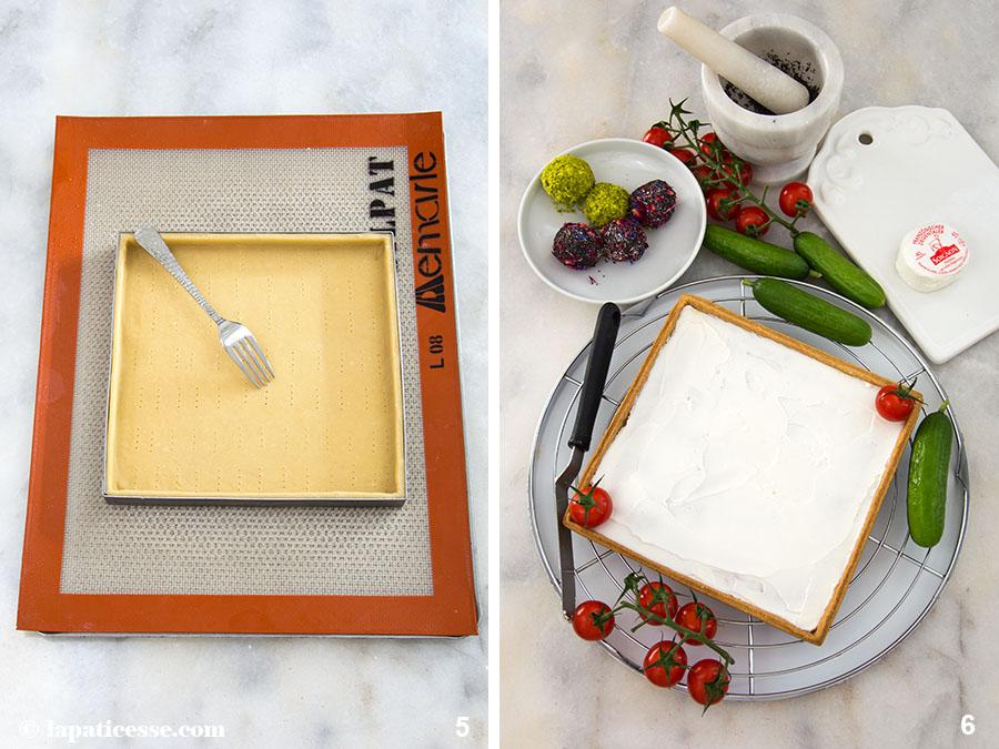 Frühlingstarte Rezept Ostern Tarte printanière Pâte brisée Zubereitung 5-6