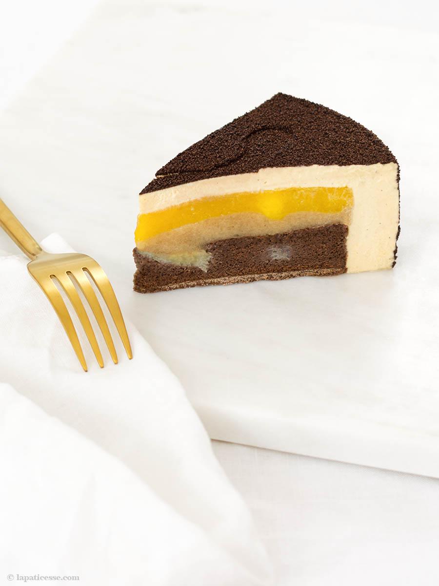 Entremets Caraïbes Karibische Torte Rezept Karamell Schokolade Banane Mango